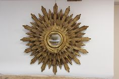A wonderful, 1950s Spanish carved gilt-wood Sunburst mirror of large proportions, that will make a statement in most settings.