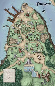 Pine pass. Fantasy town map