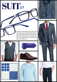 Suit Up. Dress for the big leagues with a three piece suit and XXL eyewear styles: Terrapin and Sycamore. Men's Eyewear, Terrapin, Three Piece Suit, Ray Ban Sunglasses, Stylish Men, Mens Suits, Suit Jacket, Eyes, Big
