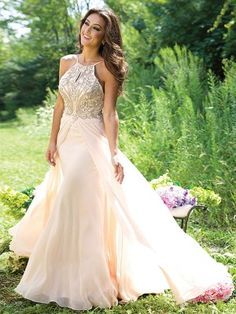 A-line/Princess Spaghetti Straps Sleeveless Beading Floor-Length Chiffon Dresses - Prom Dresses