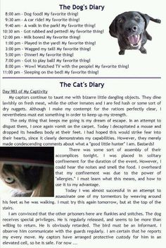 How your pet views the day...love this!  Just what I think my animals say, too!