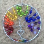 LGBT Tree Of Life Pendant Gay Lesbian Queer Gift Lesbian Gifts, Tree Of Life Pendant, Sun Catcher, Different Shapes, Gemstone Beads, Heart Shapes, Wall Decor, Rainbow, Handmade Gifts