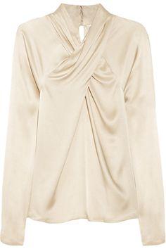 Temperley London|Delilah crossover silk-satin top|NET-A-PORTER.COM