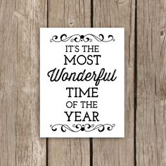Christmas Decor, Printable Quote Art, Typography, It's the Most Wonderful Time of the Year, INSTANT DOWNLOAD on Etsy, $5.00