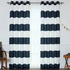 Beachcrest Home Paityn Rugby Striped Room Darkening Grommet Curtains/Drapes Grommet Curtains, Drapes Curtains, Curtain Panels, Curtains 2018, Striped Room, Striped Shower Curtains, Contemporary Curtains, Contemporary Decor