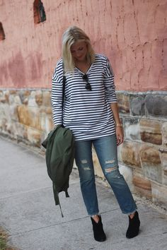 Casual outfit for Julie Gartha. We love the Ash Jalouse boots with a ripped denim and stripy loose top   http://www.ashfootwear.co.uk/search/jalouse