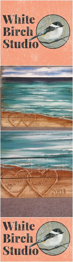 """Wood Pallet beach wall Art, BEACH, Hearts in the Sand, Wedding & Anniversary Gift, Hand painted, Seascape horizon, EXTRA LARGE reclaimed, Distressed, Shabby Chic  This picture is of the original painting on a reclaimed pallet wood and fencing. Dimensions: 30"""" tall x 40"""" wide"""""""
