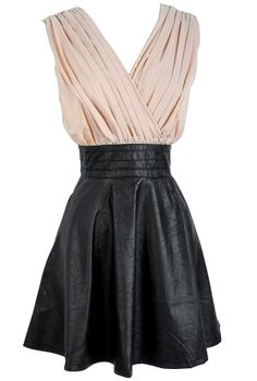 Beige and Black Vegan Leather Dress-Lily Boutique - cute and inexpensive - Melissa