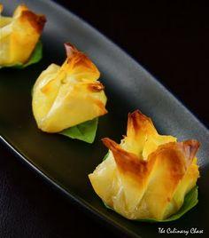 Gorgonzola-Basil phyllo kisses Filo Pastry, Flaky Pastry, Recetas Pasta Filo, Filo Recipe, Phyllo Recipes, Phyllo Dough, Crescent Rolls, Savoury Dishes, Basil