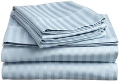 FULL SIZE 1500 Thread Count STRIPED Sheet set, LIGHT BLUE ** Want additional info? Click on the image.