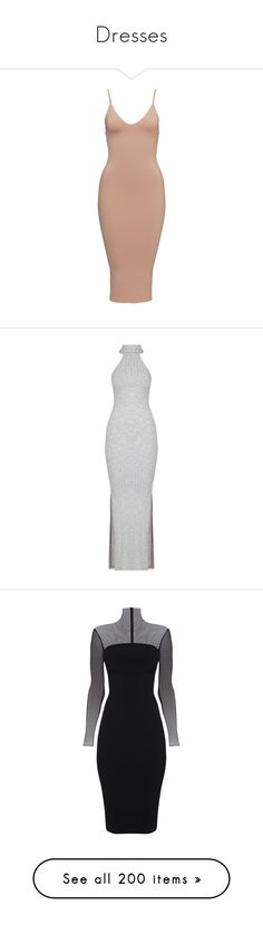"""""""Dresses"""" by caylaosuigwe ❤ liked on Polyvore featuring dresses, form fitting dresses, beige midi dress, midi dress, mid calf dresses, beige dress, slit maxi dress, maxi length dresses, turtle neck dress and zip back dress"""
