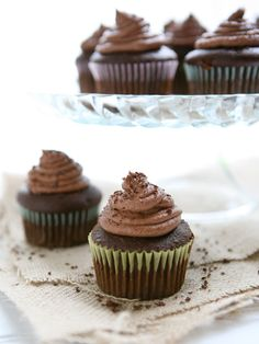 Caramel Filled Chocolate Cupcakes with Chocolate Buttercream by EclecticRecipes.com #recipe