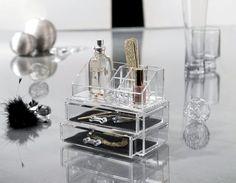 Coffret transparent pour maquillage et bijoux