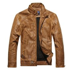 Customized Handmade Brown Color Brando Biker Leather Men's Jacket With Front Zippered Closure, Snap Button Cuffs And Belted Tab Collar, Open Hand Pockets Slim Design With Seam Worked