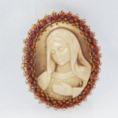 GOLD Background Serene Maiden Resin Cameo Brooch by craftsbyJeri