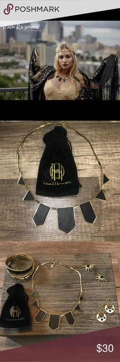 New House of Harlow Leather Station Necklace New House of Harlow 1960 Black leather station necklace   Stunning design  Gold accents  Adjustable  Originally $60.00   I did a photoshoot using all House of Harlow jewelry shown on my model in the first picture.   I'm a professional makeup artist and wardrobe stylist for film. Come follow my antics in film on my instagram under my company Bombshell. Check out this jewelry listing on my Actress Liza. House of Harlow 1960 Jewelry Necklaces