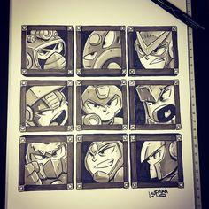 The Art of Derek Laufman Mega Man 2, Pro Markers, Brush Pen, Inktober, Fan Art, Day