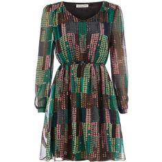 Green printed waist dress ($25) ❤ liked on Polyvore
