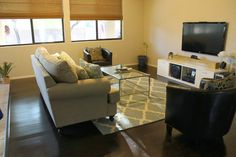 Ravishing Gray Graphic Rectangular Living Carpet On Dark Wood Floors With Glass Coffee Desk Also White Couch As Well As White Tv Stand Cabinet In Small Media Room Designs