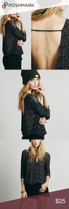 Free People Back Together Tee Super soft, oversized crisscross open back top with an elastic waistband. Semi-sheer. Tops