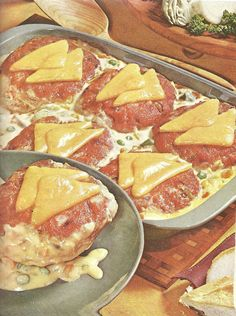 Corned Beef Bake. The cheese triangles are overlapping ever so perfect with just the right amount of seepage. (BHG Casserole cookbook, 1969)