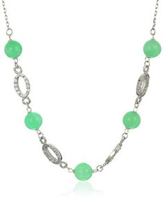Sterling Silver Green Jade with Cubic Zirconia Chain Necklace 17  2 Extender -- See this great product. (This is an affiliate link) #Necklaces