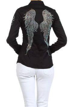 Forever Star - Plus Size Rhinestone Popline Button Down Long Sleeve Shirt