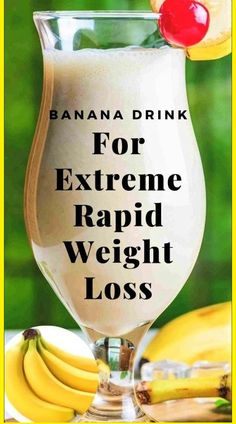 Powerful Banana Drink For Extreme Weight Loss - Diet & Weight Loss - Detox Weight Loss Drinks, Weight Loss Smoothies, Healthy Smoothies, Healthy Drinks, Healthy Eating, Healthy Meals, Clean Eating, Morning Smoothies, Banana Recipes For Weight Loss