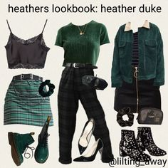 Edgy Outfits, Teen Fashion Outfits, Grunge Outfits, Cute Casual Outfits, Aesthetic Fashion, Aesthetic Clothes, Aesthetic Vintage, Slytherin Clothes, Hogwarts Outfit