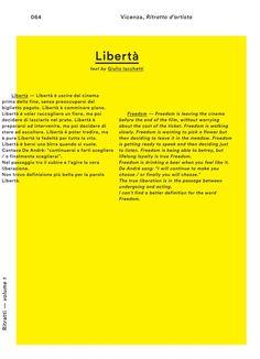 Book spread 'Libertà', text by Giulio Iacchetti for Ritratti-volume 1, © Foscarini.