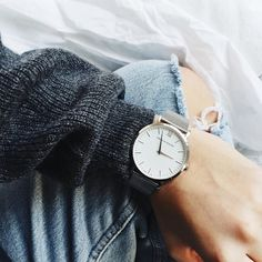 Grey Sweater - Fine Collection Blue Jeans - Levis,  Sliver Watch - Larsson & Jennings