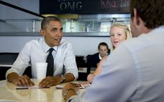 #30 OMG! President Obama eats at South Miami burger joint    President Barack Obama looks over voter registration forms with Emily Young, center, and Maximo Soler, at OMG! Burgers, Thursday, Sept. 20, 2012, in South Miami. Carolyn Kaster / AP