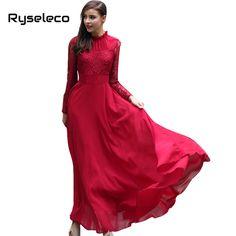 New Women 2017 Spring Vintage Slim Elegant Wine Red Long Sleeve Crochet Lace Patchwork Chiffon Ruffles Floor-length Maxi Dresses