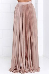 Simone Beige Pleated Maxi Skirt | Skirt pleated, Beige colour and Fans