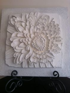 Chrysanthemum Flower 3d sculptural art on canvas.