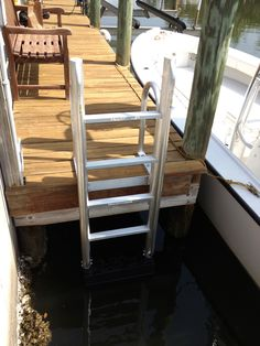 FloatStep aluminum dock ladder. NO more barnacles on your ladder!