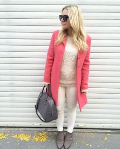 Shades of pink Red Leather, Leather Jacket, White Blonde, Furla, Celine, Shades, Blazer, Photo And Video, My Style