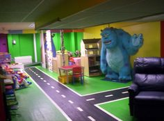 awesome basement, would be great for an in-home daycare. -- I would put this in my home for my children! Daycare Spaces, Kids Daycare, Home Daycare, Preschool At Home, Daycare Ideas, Montessori Room, Building For Kids, Indoor Playground, Kids House