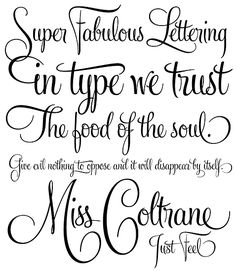 Here are two new calligraphy fonts that I LOVE from type foundry Veer. Buffet script and Feel script by Alejandro Paul. Feel script is based on Rand Holub's calligraphy and Feel script is based on Alf Becker, one of America's best sign lettering artist. Calligraphy Tattoo, Tattoo Lettering Fonts, Typography Fonts, Hand Lettering, Tattoo Script, Cursive Calligraphy, Script Typeface, Lettering Ideas, Chalkboard Lettering