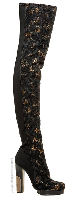 Kinky Boots   Brocade and neoprene thigh boots by Lanvin    https://www.facebook.com/kinkybootsmovie