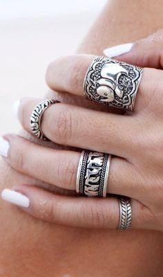 Delice And Creed Silver Lava-links Elephant Unisex Ring Set