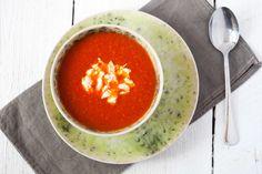 zupa-z-pieczonej-papryki-i-pomidorow-z-ciecierzyca Thai Red Curry, Feta, Cooking, Ethnic Recipes, Cucina, Kochen, Cuisine, Brewing, Koken