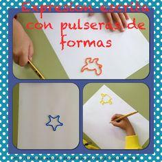 fer frases orals i escrites amb les pulseres de formes.