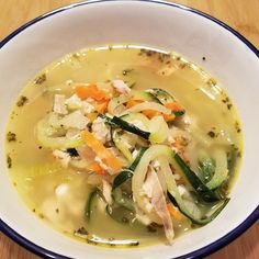 This keto chicken zoodle soup can be quickly put together with rotisserie chicken and preprepped zucchini noodles. This keto chicken zoodle soup can be quickly put together with rotisserie chicken and preprepped zucchini noodles. Baked Pesto Chicken, Chicken Zoodle Soup, Keto Chicken, How To Cook Chicken, Rotisserie Chicken, Cooked Chicken, Gourmet Recipes, Keto Recipes, Dinner Recipes