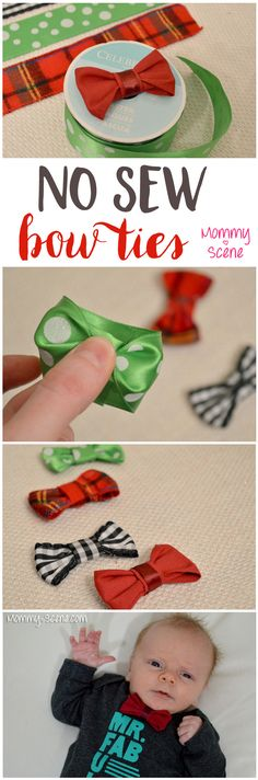 No Sew Baby Bow Ties + Toddler Bow Ties!  Baby boy bow ties are very easy to make with a scrap of ribbon and a hot glue gun! See how..