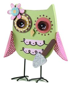 Take a look at this Green & Pink Owl Figurine on zulily today!