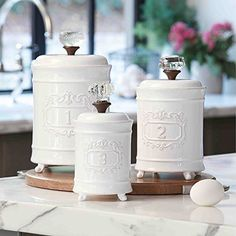 Martha Stewart Collection Set of 3 Whiteware Basketweave Canisters ...
