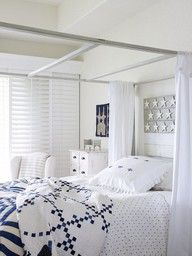 I love blue and white quilts