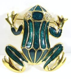 Gold Tone Brooch Pin with Green Enameled Frog and Clear Stone Eyes by Trifari
