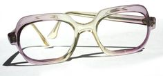 Vintage 60s Pale Pink Lavender & Lemon Yellow Translucent Eyeglass Frames Square Oval Funky Cool Sexy Sophomore Librarian